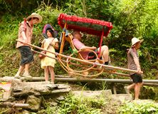 Residents of the village of Dazhay take the tourist up the mountain to slash on rice terraces. royalty free stock photos