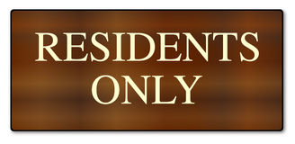 Residents Only Wooden Sign Stock Image