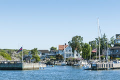 Residentual-Häuser und Sommerhäuser Langedrag Schweden Lizenzfreie Stockfotografie