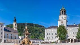 Residenz喷泉和Residenz宫殿主教宫广场的在Sa中 免版税库存照片