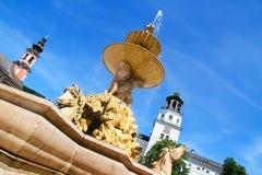 Residenz fontanna w Salzburg obraz stock