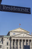 Residenz Theatre in Munich with the street sign in front, German Stock Images