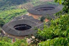 Residenza tradizionale descritta nel sud della Cina, castello della terra Fotografia Stock Libera da Diritti