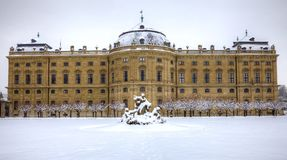 Residenze of Wurzburg Germany in snow Royalty Free Stock Images