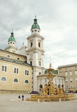 Residenzplatz广场在萨尔茨堡,奥地利。 免版税图库摄影