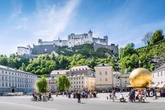 Residenzplatz at Salzburg Stadt with Hohensalzburg Castle, Salzb stock image