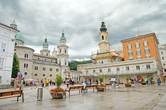 Residenzplatz square in Salzburg, Austria. Royalty Free Stock Photo