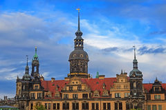 Residenzschloss (city palace) in Dresden with cloudy sky Royalty Free Stock Photos