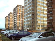 Residential area. Residential buildings and cars parked Stock Photography