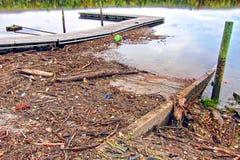 Residui e rifiuti di legno della filiale dopo un'inondazione del fiume Immagini Stock Libere da Diritti