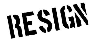 Resign black rubber stamp on white Stock Images