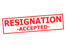 RESIGNATION ACCEPTED. Red Rubber Stamp over a white background stock image