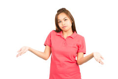 Resignation Asian Woman Shrugging Shoulders At Royalty Free Stock Image