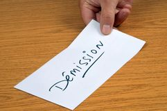 The resignation letter written in french royalty free stock photography