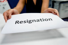 Resignation paper. In a woman's hands Stock Photos