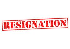 RESIGNATION. Red Rubber Stamp over a white background Stock Image