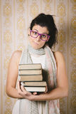 Resigned student with books portrait Royalty Free Stock Image