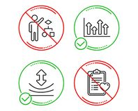 Resilience, Algorithm and Upper arrows icons set. Patient history sign. Vector. Do or Stop. Resilience, Algorithm and Upper arrows icons simple set. Patient royalty free illustration
