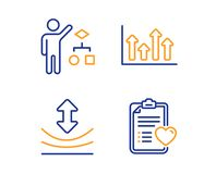 Resilience, Algorithm and Upper arrows icons set. Patient history sign. Vector. Resilience, Algorithm and Upper arrows icons simple set. Patient history sign stock illustration