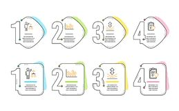 Resilience, Algorithm and Upper arrows icons set. Patient history sign. Vector. Resilience, Algorithm and Upper arrows icons simple set. Patient history sign vector illustration