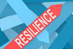 Resilience arrow pointing upward. 3d rendering royalty free illustration