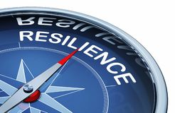 Resilience. 3D rendering of an compass with the word resilience stock illustration