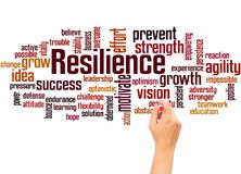 Resilience word cloud and hand writing concept. On white background royalty free illustration