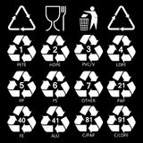 Recycling symbols for packaging vector illustration