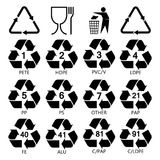 Recycling symbols for packaging. Resin identification code icons set. Marking of plastic products. Plastic package materials. Recycling symbols for packaging stock illustration