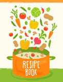 Resipeboek van gezonde voedselachtergrond Royalty-vrije Stock Afbeeldingen