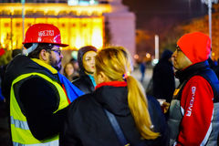 `Resist` message on helmet, Bucharest, Romania Stock Photos