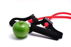 Resistance Band and Green Apple Royalty Free Stock Photography