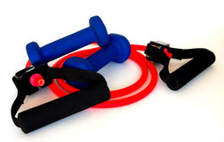 Resistance Band and Weights royalty free stock photos