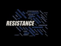 Resistance - word cloud wordcloud - terms from the globalization, economy and policy environment. Wordcloud with series of terms from the globalization, economy Stock Photos
