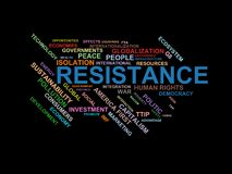 RESISTANCE - word cloud wordcloud - terms from the globalization, economy and policy environment. Wordcloud with series of terms from the globalization, economy Stock Photo