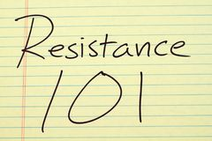 Resistance 101 On A Yellow Legal Pad Royalty Free Stock Photography