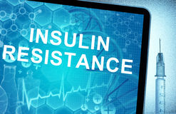 Resistencia a la insulina de las palabras en una tableta Imagen de archivo