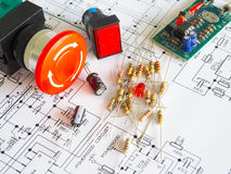 Resistor component on circuit diagram Stock Image