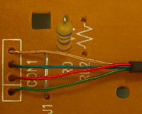 Resistor and conductor. Electronic components on printed circuit board Stock Photography