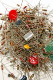 Resistors. Pile of old resistors capacitors and electronic components stock photography