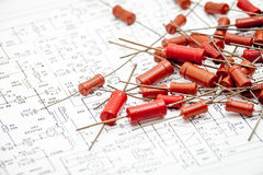 Resistors on circuit diagram Royalty Free Stock Image