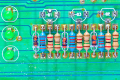 Resistors on electronic board Stock Photos