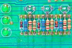 Resistors on electronic board Stock Photos