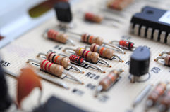 Resistors on motherboard Royalty Free Stock Photos