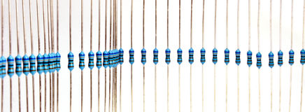 Resistors in a row. A band of resistors waiting for assembly Royalty Free Stock Photography