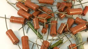 Resistance Resistors up close, electronic parts. stock video