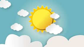 Resning för morgontid och glänsande gul sol med att sväva moln lager videofilmer