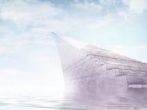 Resning för oändlighetstrappuppgångmonument från vattnet till himmel stock illustrationer