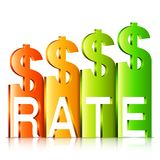 Resningdollar Rate Concept Royaltyfri Bild
