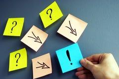 Resolução do problema Conceito da resposta Pontos de interrogação e setas à marca de exclamação imagens de stock